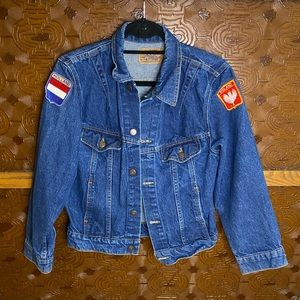 Denim Jean Jacket Vintage Patches Poland Holland